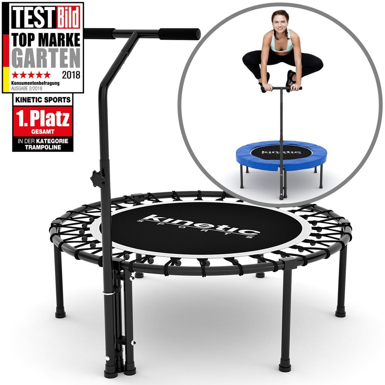 Kinetic Sports Indoor Fitness Trampolin Mit Griff Und Gelenkschonender Federung Trampolintests De